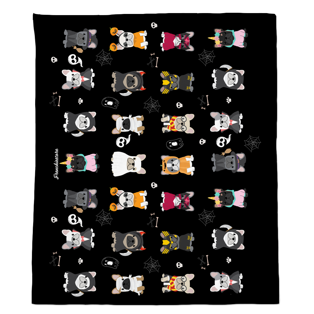 Frenchie Halloween Blanket | French Bulldogs in costumes