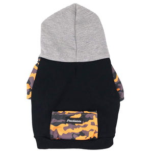 organic frenchiestore hoodie mustard camo pocket and sleeves grey oversized hood and black organic fabric