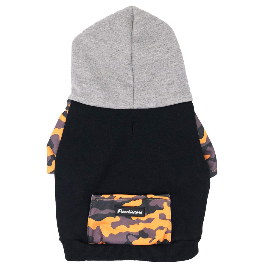 Frenchiestore organic dog hoodie in mustard camo, black organic fabric with grey oversized hood