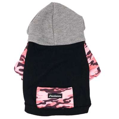 frenchiestore dog hoodie in pink camo