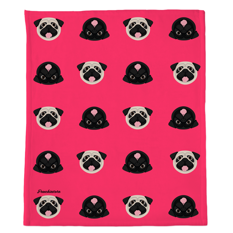 Pug Blanket | Different Pug dogs on Hot Pink