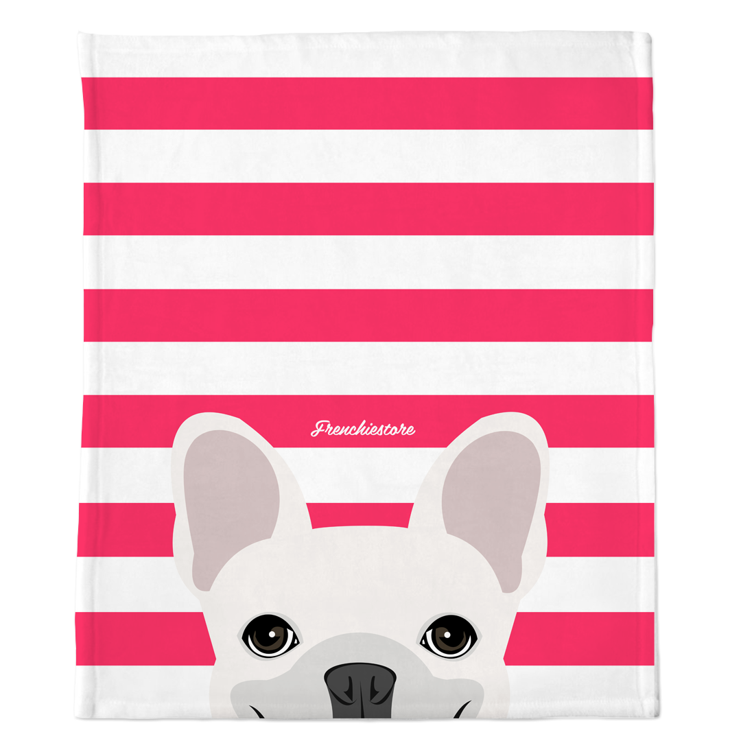 White French Bulldog on Hot Pink Stripes | Frenchie Blanket