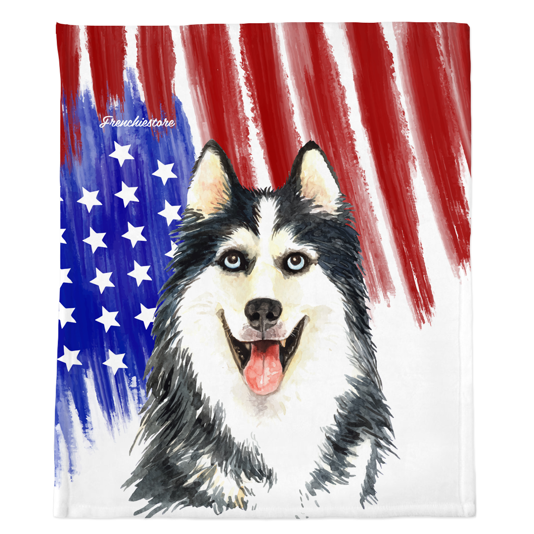Patriotic Siberian Husky Blanket | American dog in Watercolors