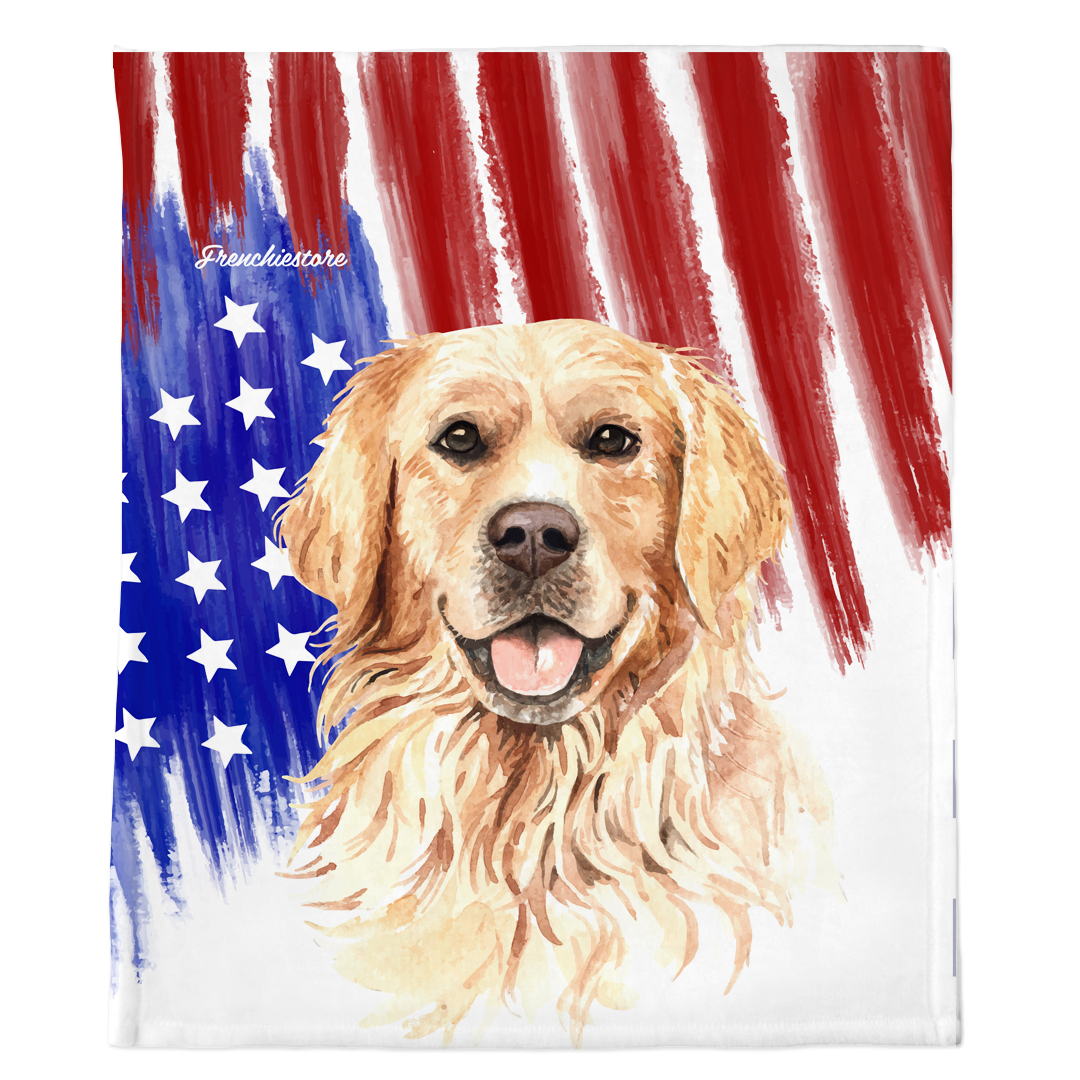 Golden Retriever Blanket USA patriotic