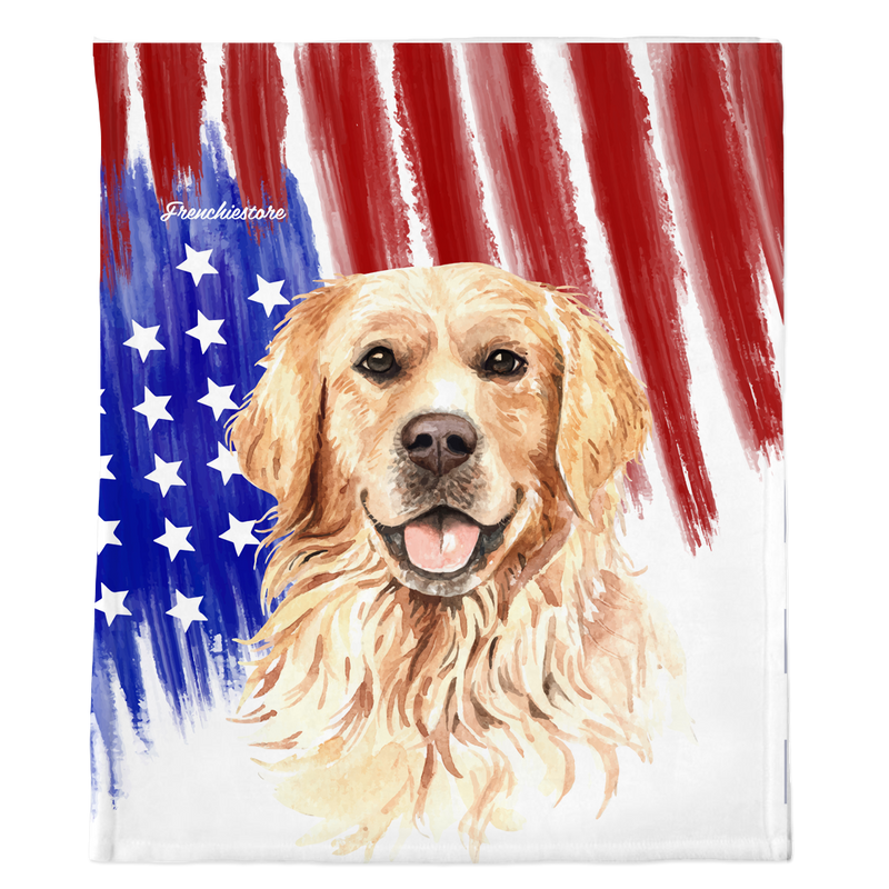 Golden Retriever Blanket USA patriottico