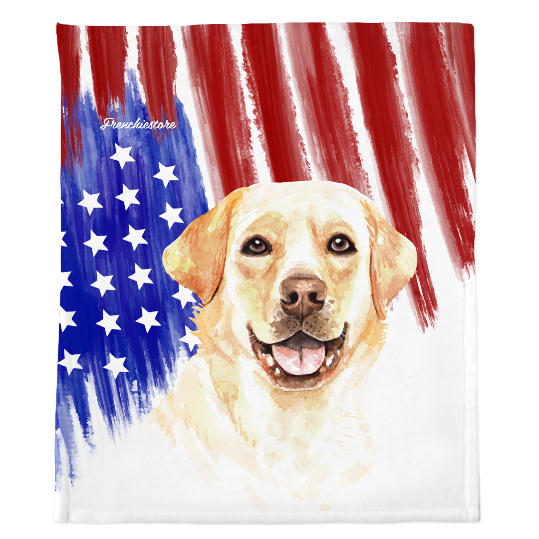 Patriotic Labrador Retriever Blanket | American dog in Watercolors