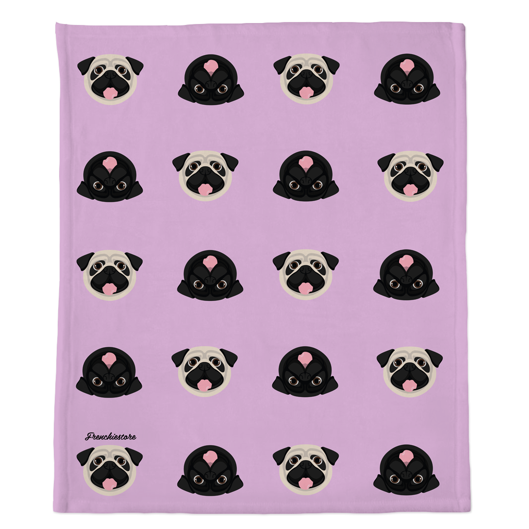Pug Blanket | Different Pug dogs on Lavender