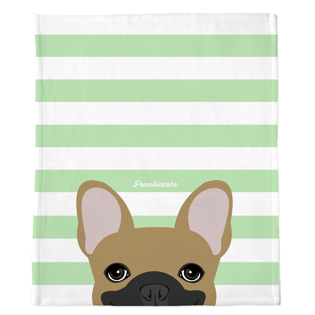 Masked Fawn French Bulldog on Mint Stripes | Frenchie Blanket, Frenchie Dog, French Bulldog pet products