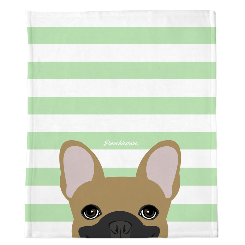 Masked Fawn French Bulldog on Mint Stripes | Frenchie Blanket