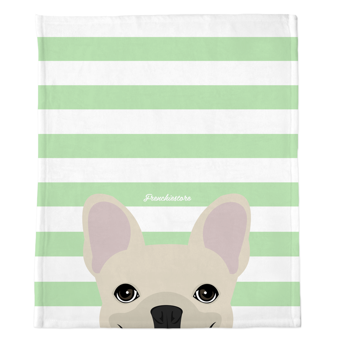 Cream French Bulldog on Mint Stripes | Frenchie Blanket