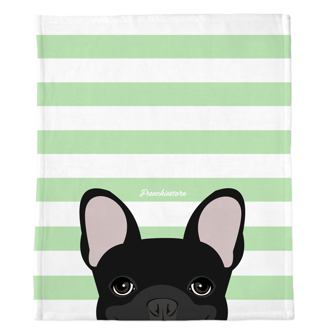 Black French Bulldog on Mint Stripes | Frenchie Blanket