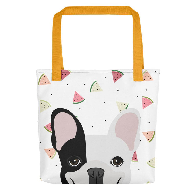 Black Left Pied French Bulldog with Watermelons | Frenchiestore Tote bag