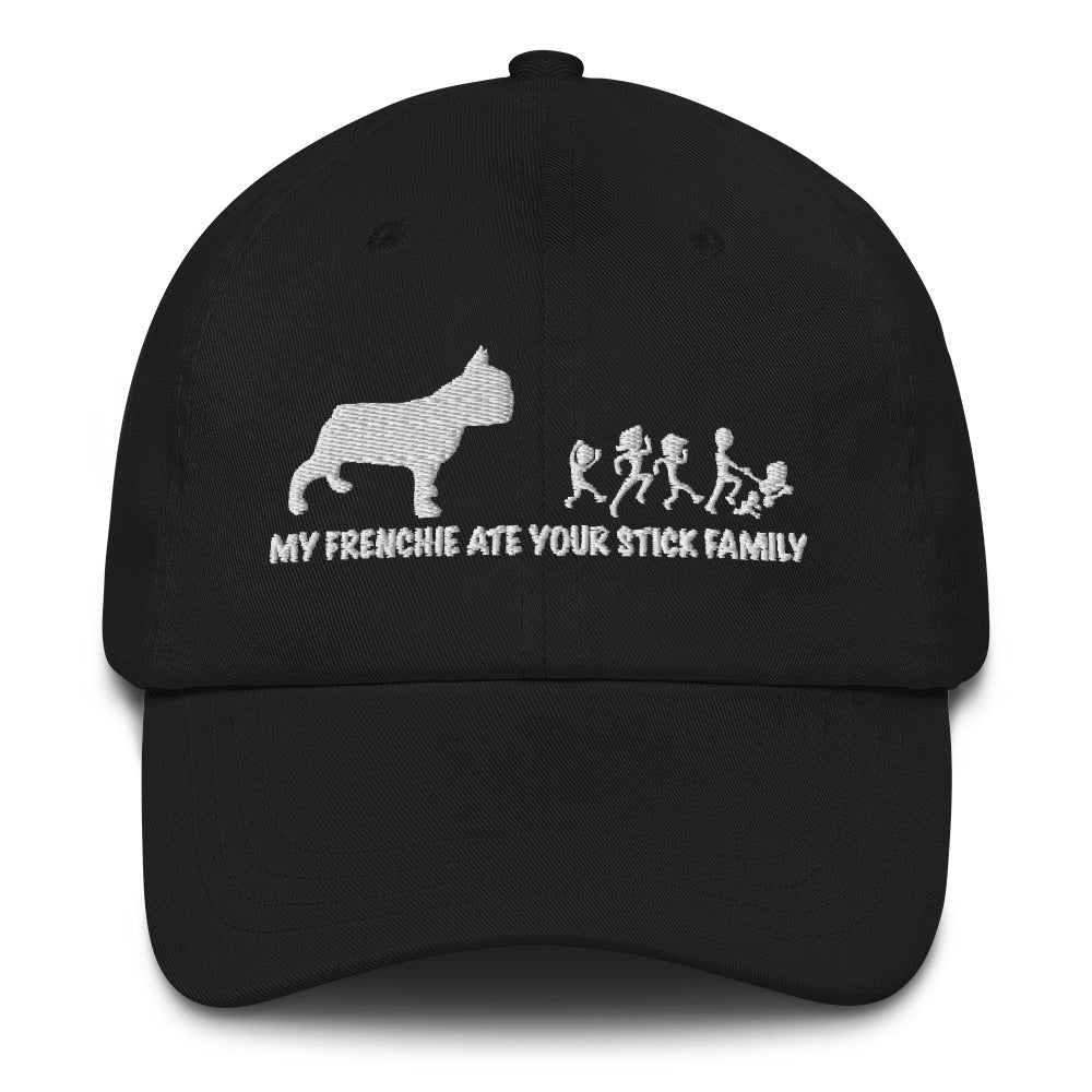 My Frenchie ate your stick family | Frenchiestore Embroidered Hat, Frenchie Dog, French Bulldog pet products