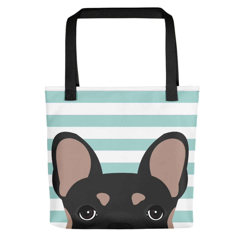 Black and Tan French Bulldog on Teal Stripes | Frenchiestore Tote bag