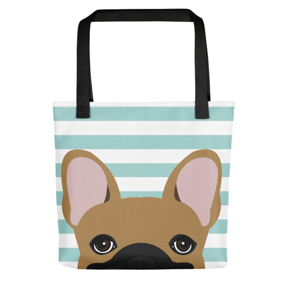 Fawn French Bulldog on Teal Stripes | Frenchiestore Tote bag