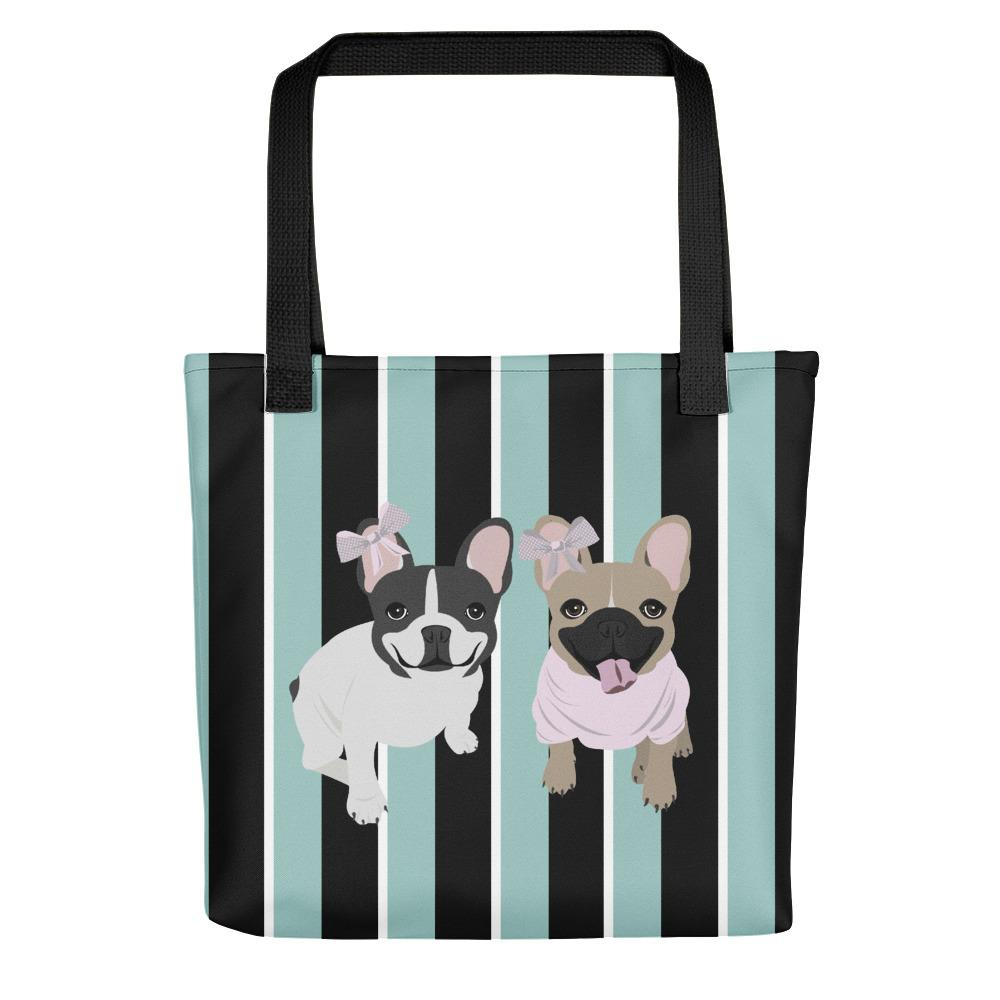 French Bulldogs on Modern Stripes | Frenchiestore Tote bag, Frenchie Dog, French Bulldog pet products