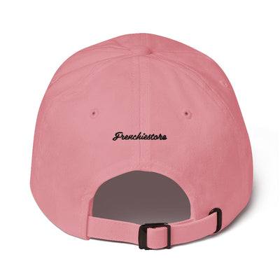 back of Stay Pawsitive | Frenchiestore Embroidered Hat in pink