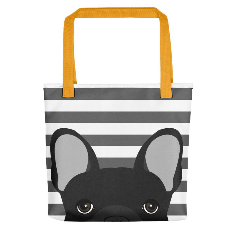 Black French Bulldog on Gray Stripes | Frenchiestore Tote bag