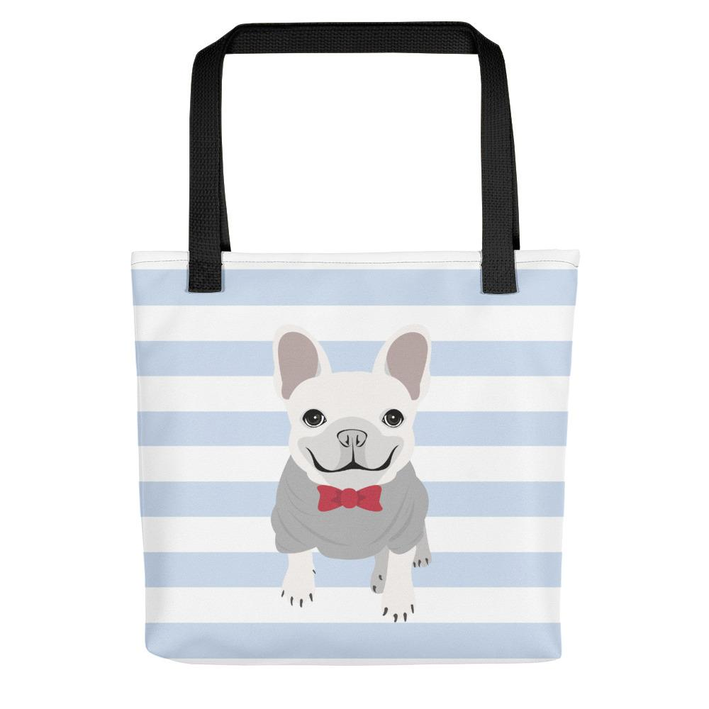 White Male French Bulldog on Baby Blue Stripes | Frenchiestore Tote bag, Frenchie Dog, French Bulldog pet products