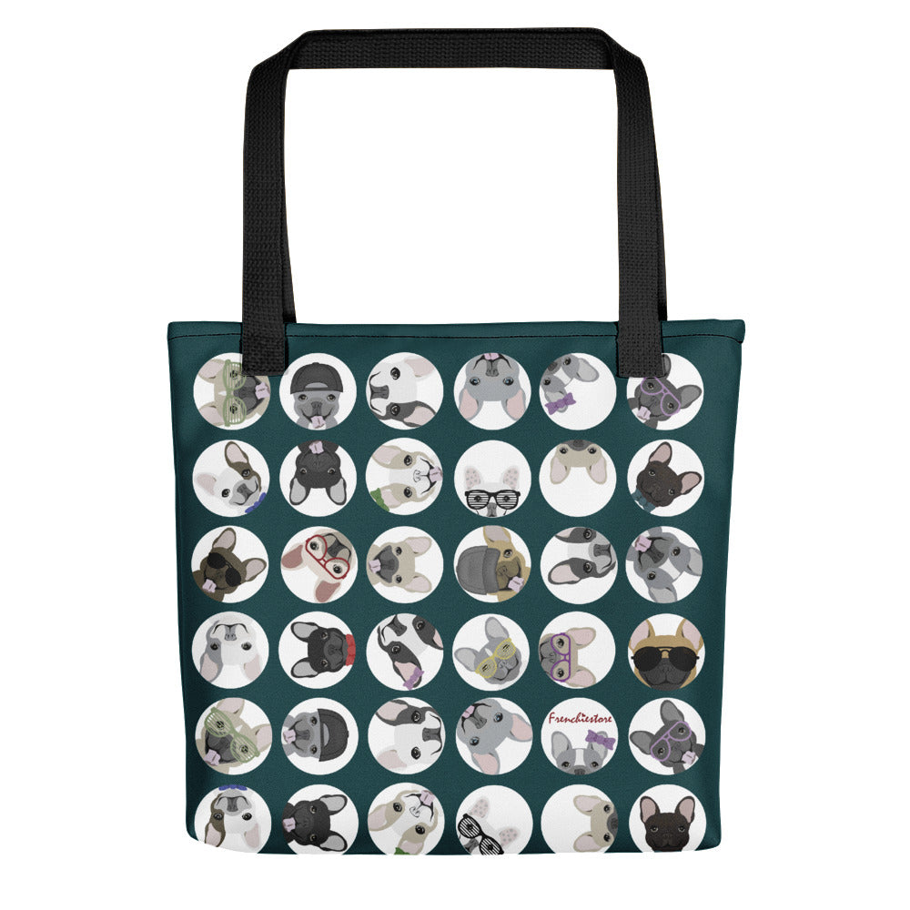 Frenchie dogs on Blue Polka Dots | Frenchiestore Tote bag