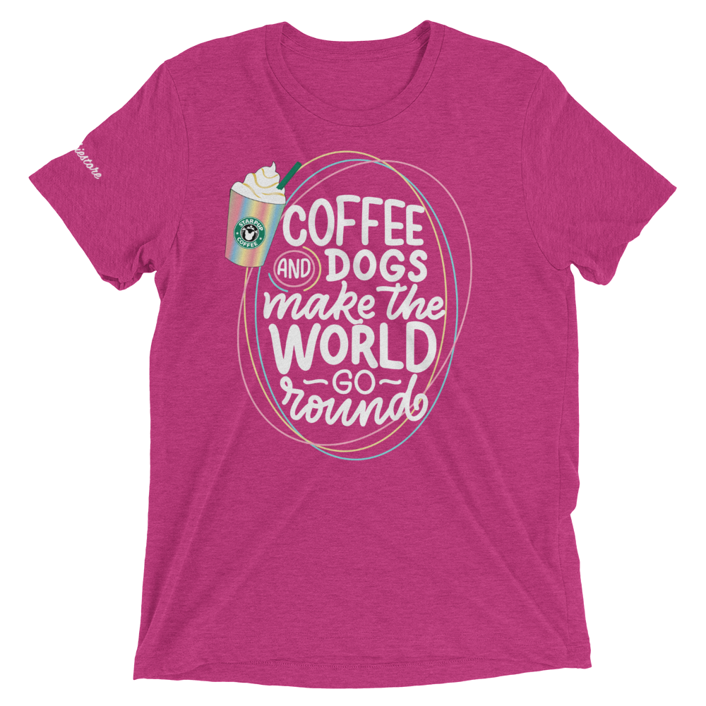 Coffee and Dogs Make The World Go Round | Frenchiestore Unisex t-shirt, Frenchie Dog, French Bulldog pet products