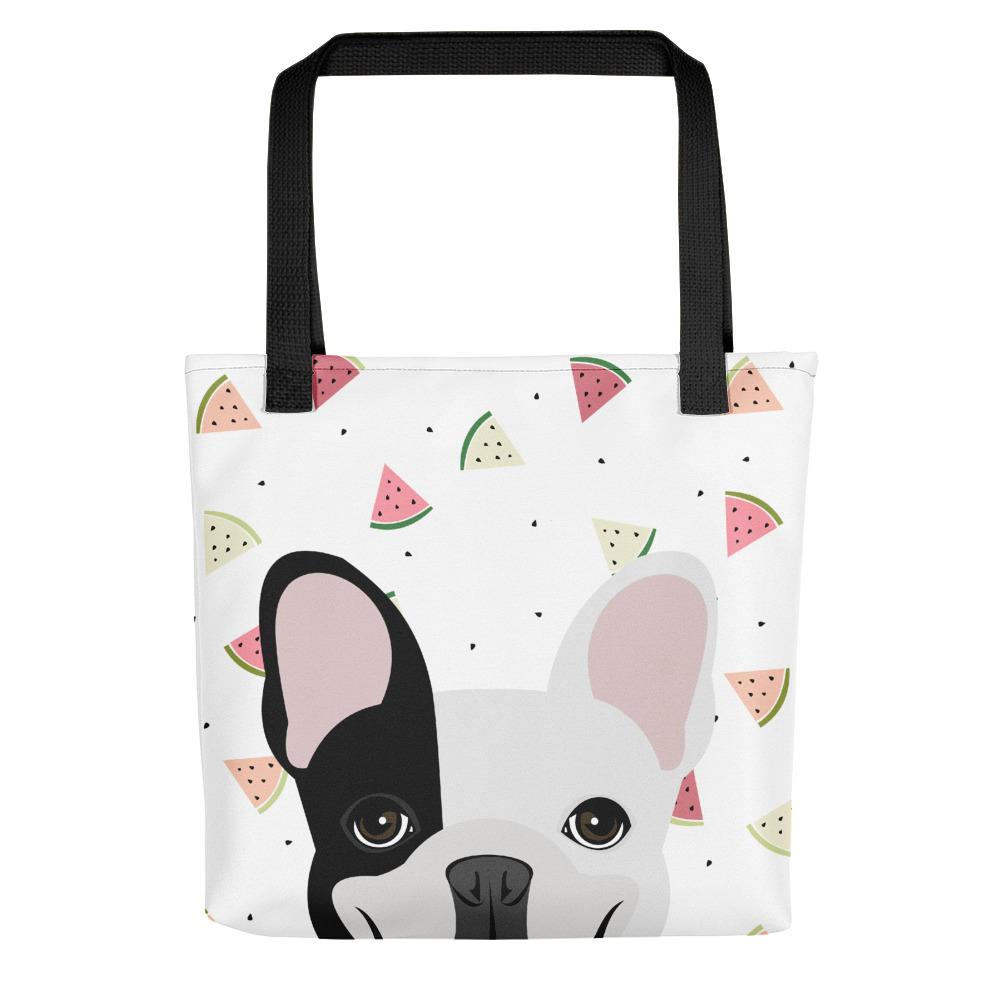 Black Left Pied French Bulldog with Watermelons | Frenchiestore Tote bag, Frenchie Dog, French Bulldog pet products