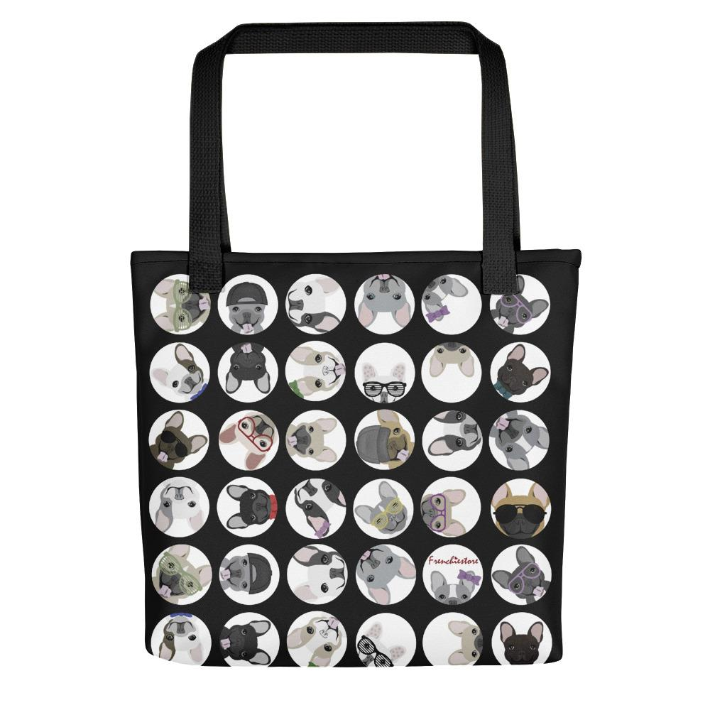 French Bulldogs on Black Polka Dots | Frenchiestore Tote bag