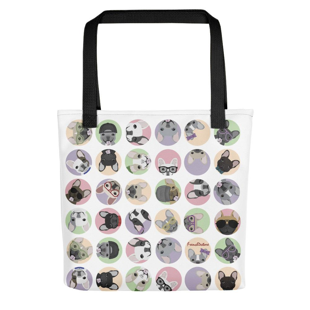 French Bulldogs on White Polka Dots | Frenchiestore Tote bag
