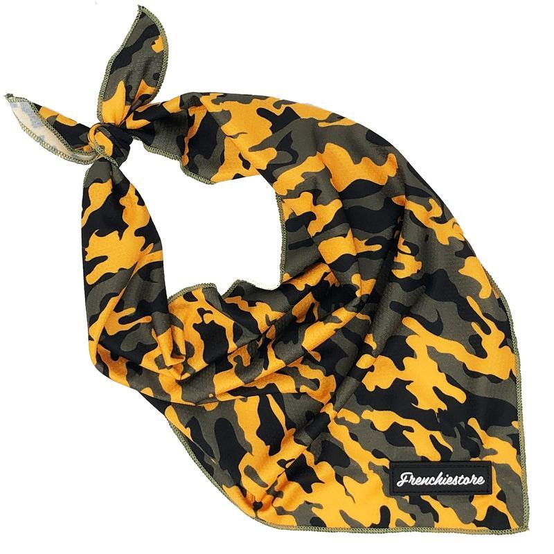 Frenchiestore Dog Cooling Bandana | Mustard Ultimate Camo, Frenchie Dog, French Bulldog pet products