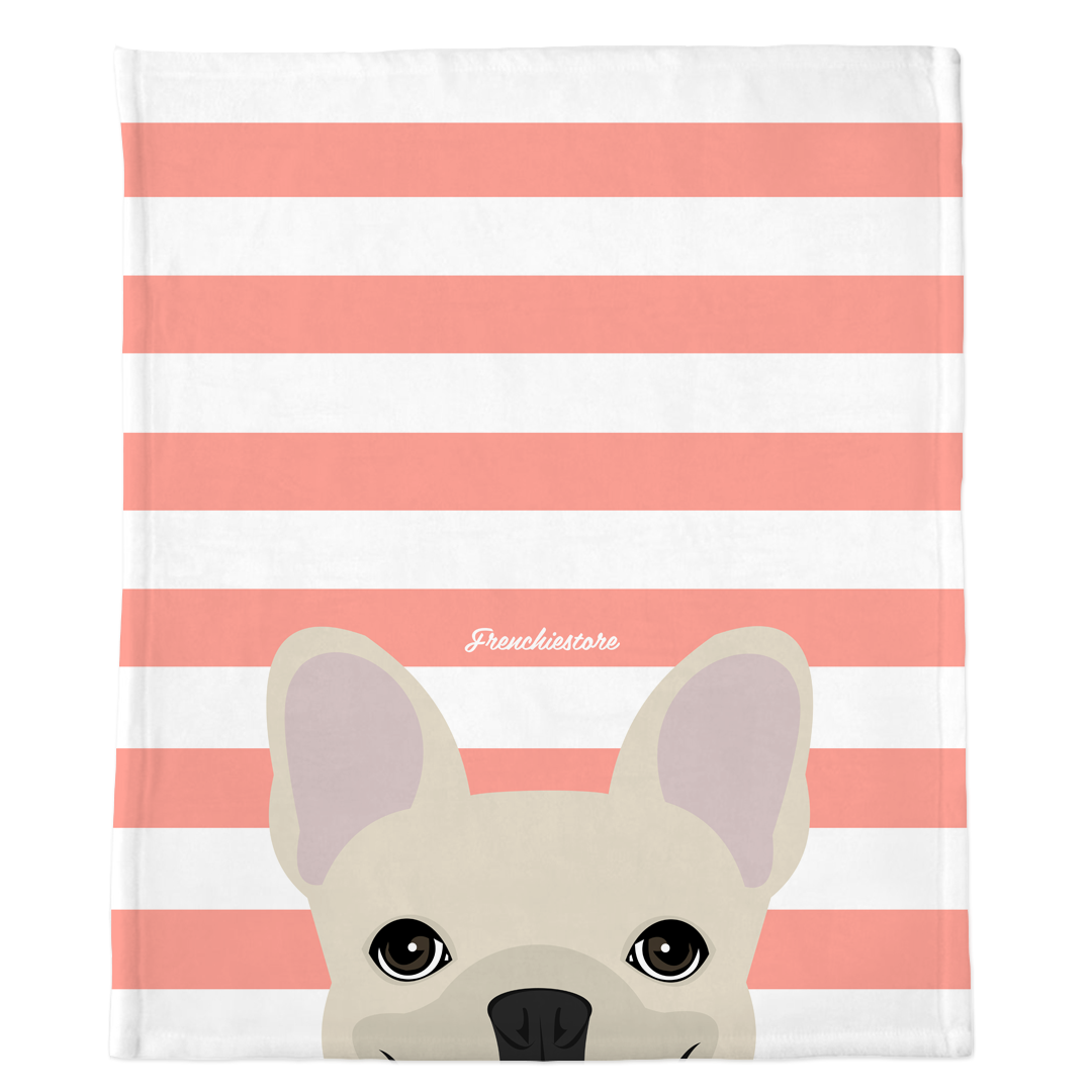 Cream French Bulldog on Peach Stripes | Frenchie Blanket