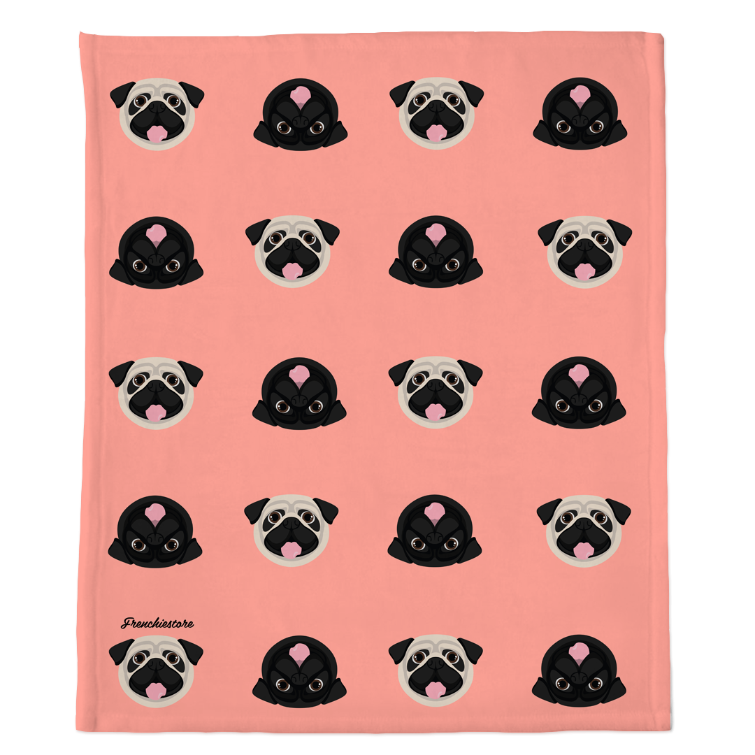 Pug Blanket | Different Pug dogs on Peach