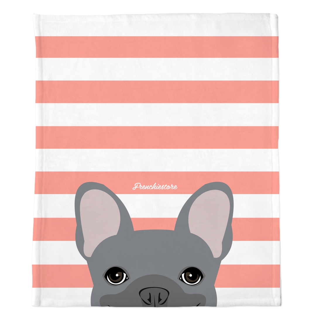Blue French Bulldog on Peach Stripes | Frenchie Blanket, Frenchie Dog, French Bulldog pet products
