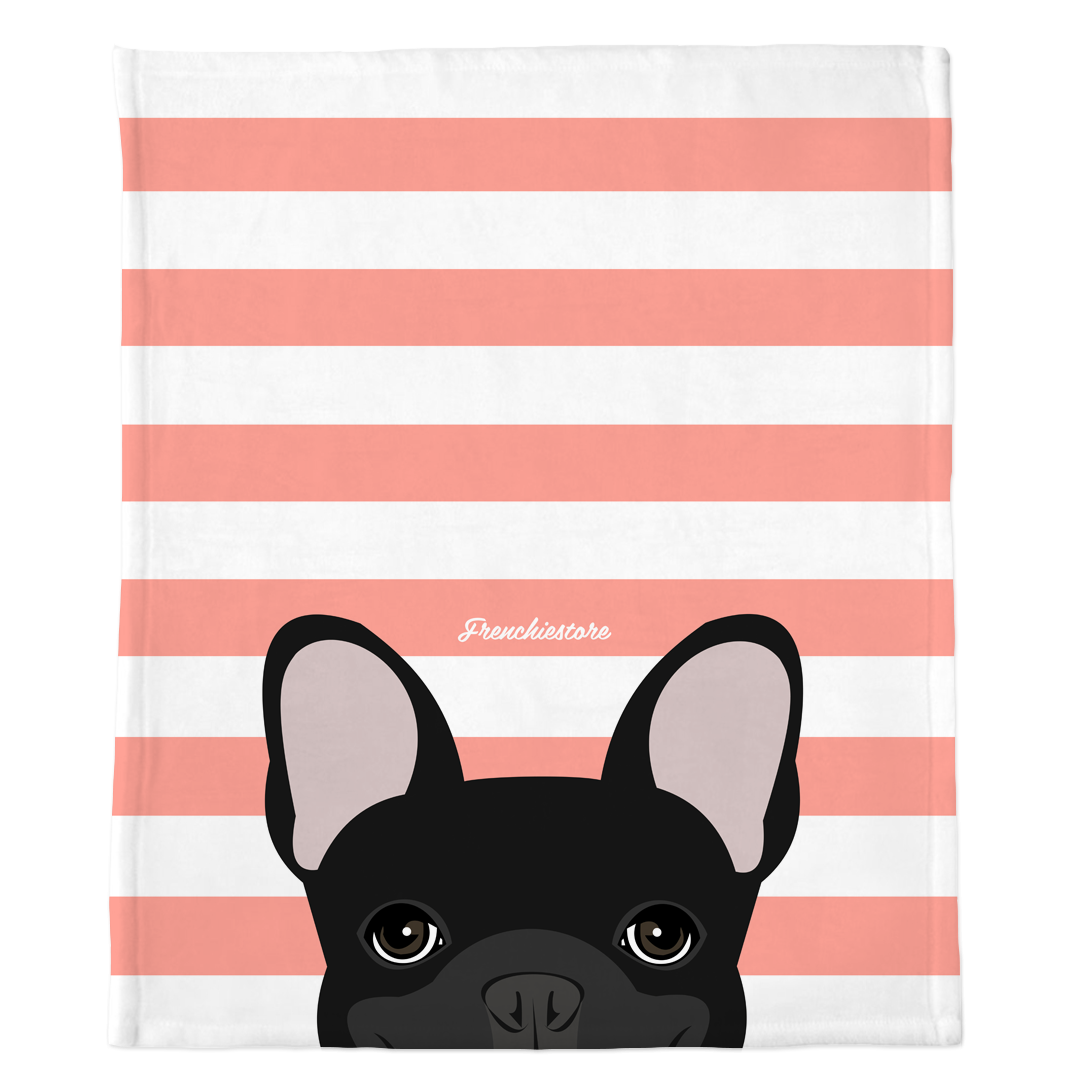 Black French Bulldog on Peach Stripes | Frenchie Blanket, Frenchie Dog, French Bulldog pet products