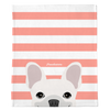 White French Bulldog on Peach Stripes | Frenchie Blanket