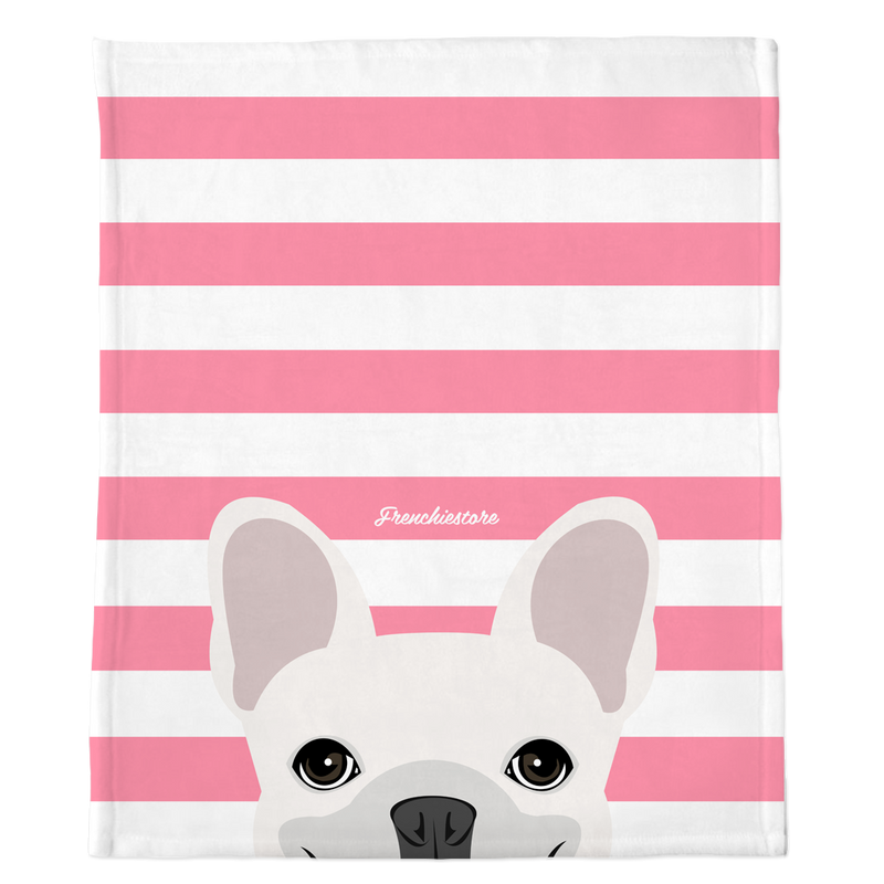 White French Bulldog on Pink Stripes | Frenchie Blanket