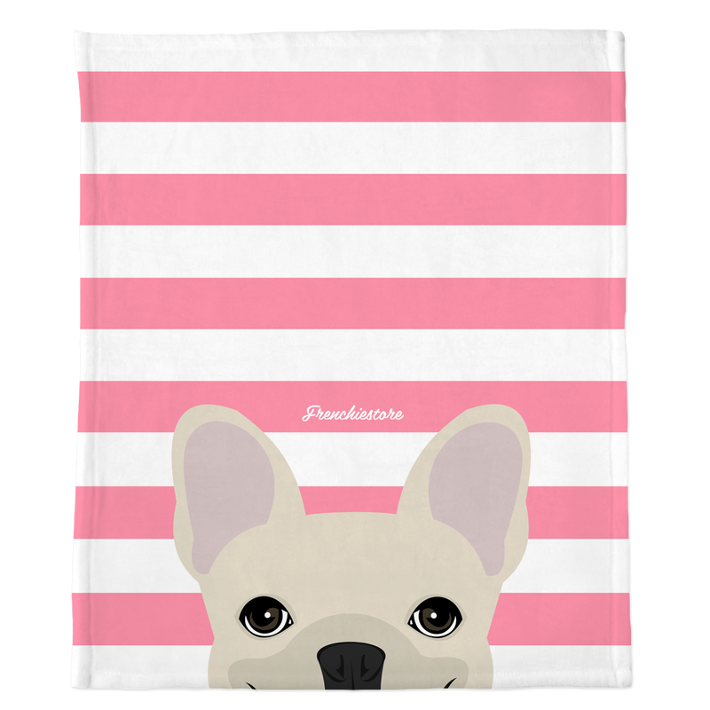 Couverture Frenchie | Frenchiestore | Peeking Cream Bouledogue français sur rose
