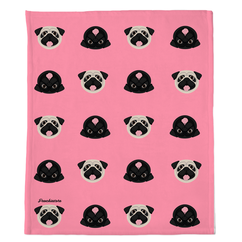 Pug Blanket | Different Pug dogs on Pink