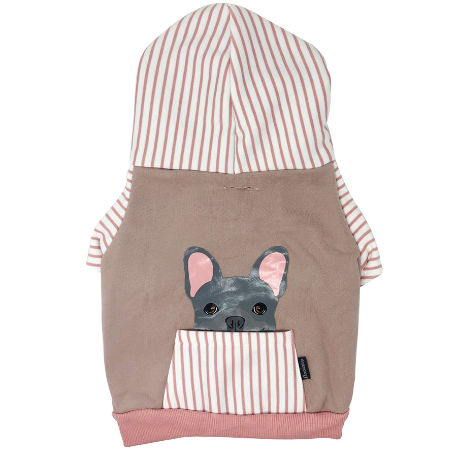French Bulldog hoodie in pink | Frenchie Clothing | Blue Frenchie dog