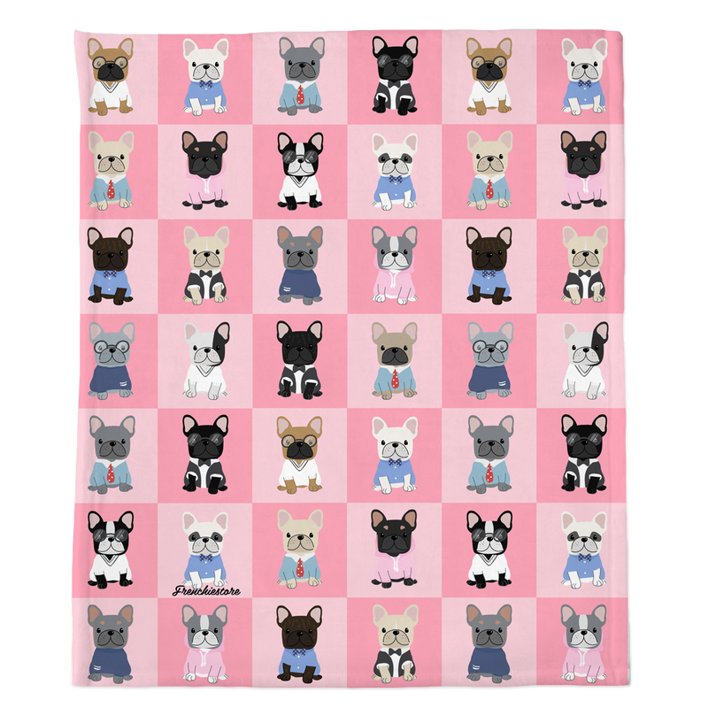 Frenchie Blanket | Preppy French Bulldogs on Pink