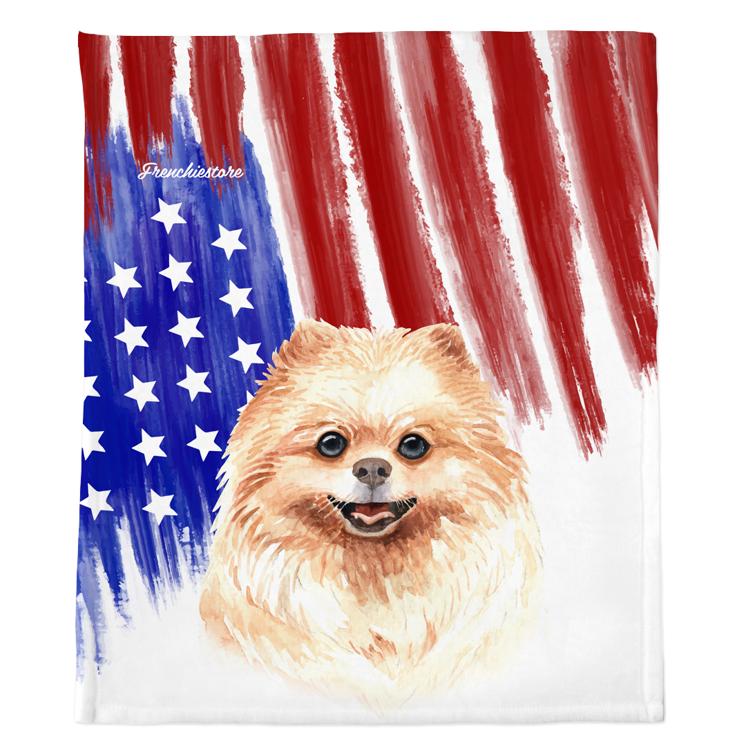 Patriotic Pomeranian Blanket | American dog in Watercolors