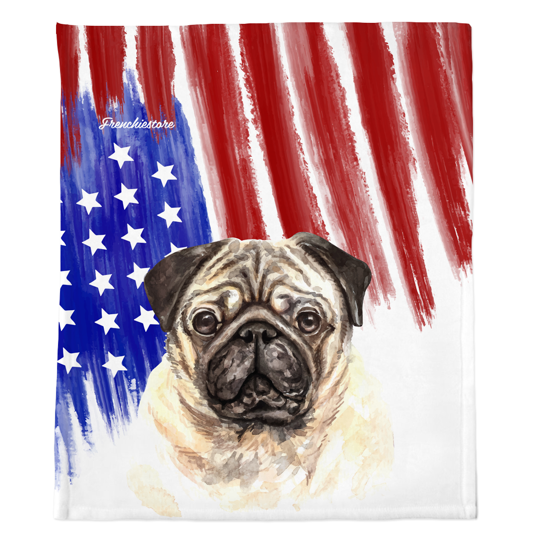 Patriotic Pug Blanket | American dog in Watercolors