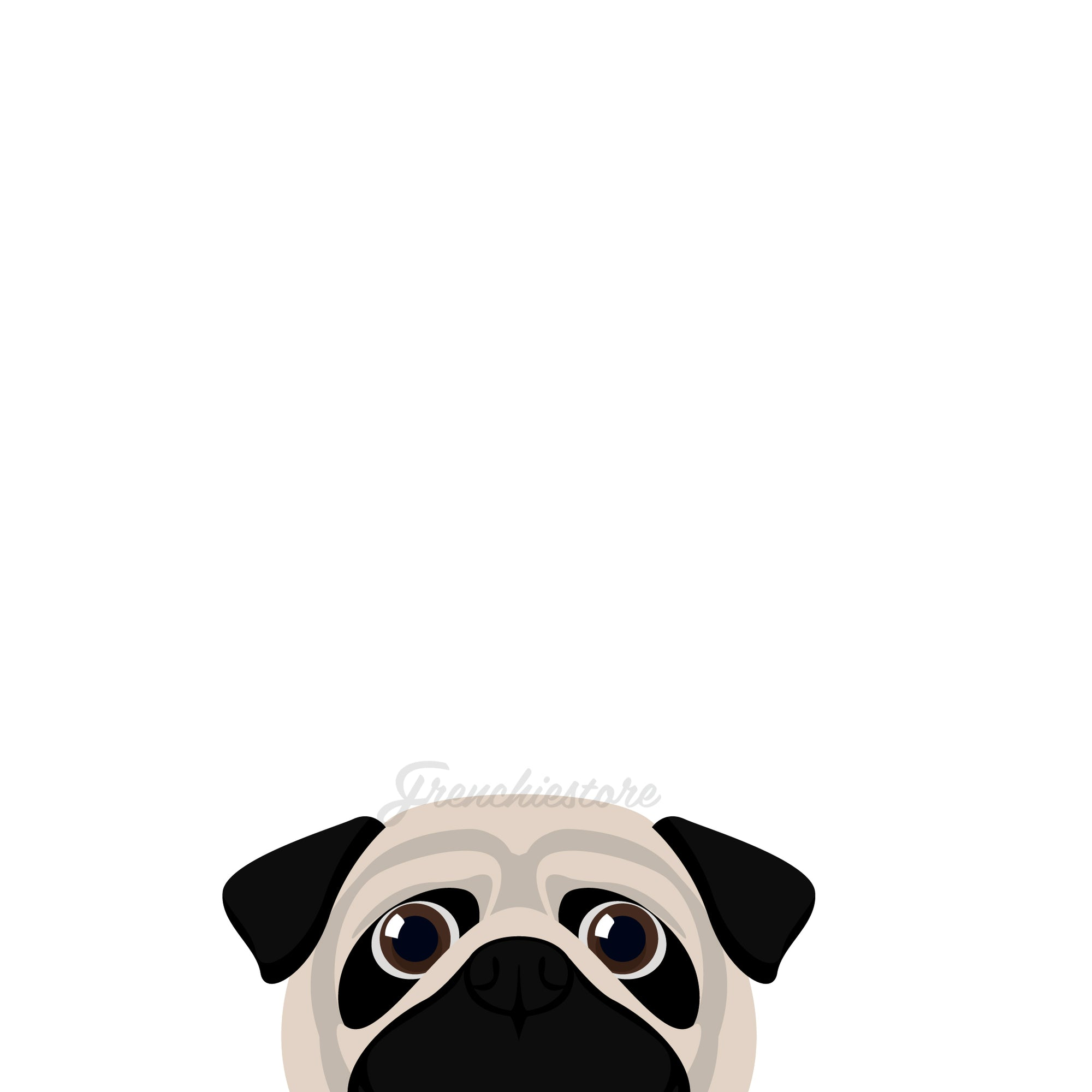 Pug Dog Sticker | Frenchiestore |  Fawn Pug Car Decal, Frenchie Dog, French Bulldog pet products