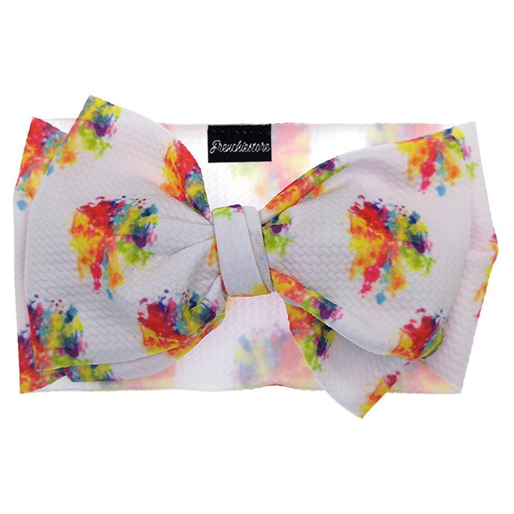 Frenchiestore Pet Head Bow | Rainbow Splash