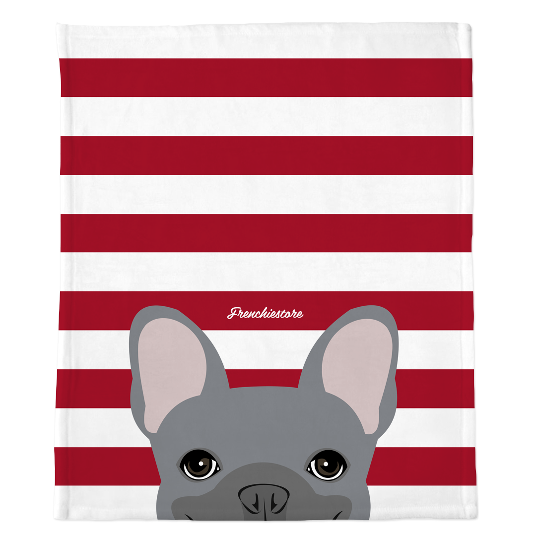 Blue French Bulldog on Red Stripes | Frenchie Blanket, Frenchie Dog, French Bulldog pet products