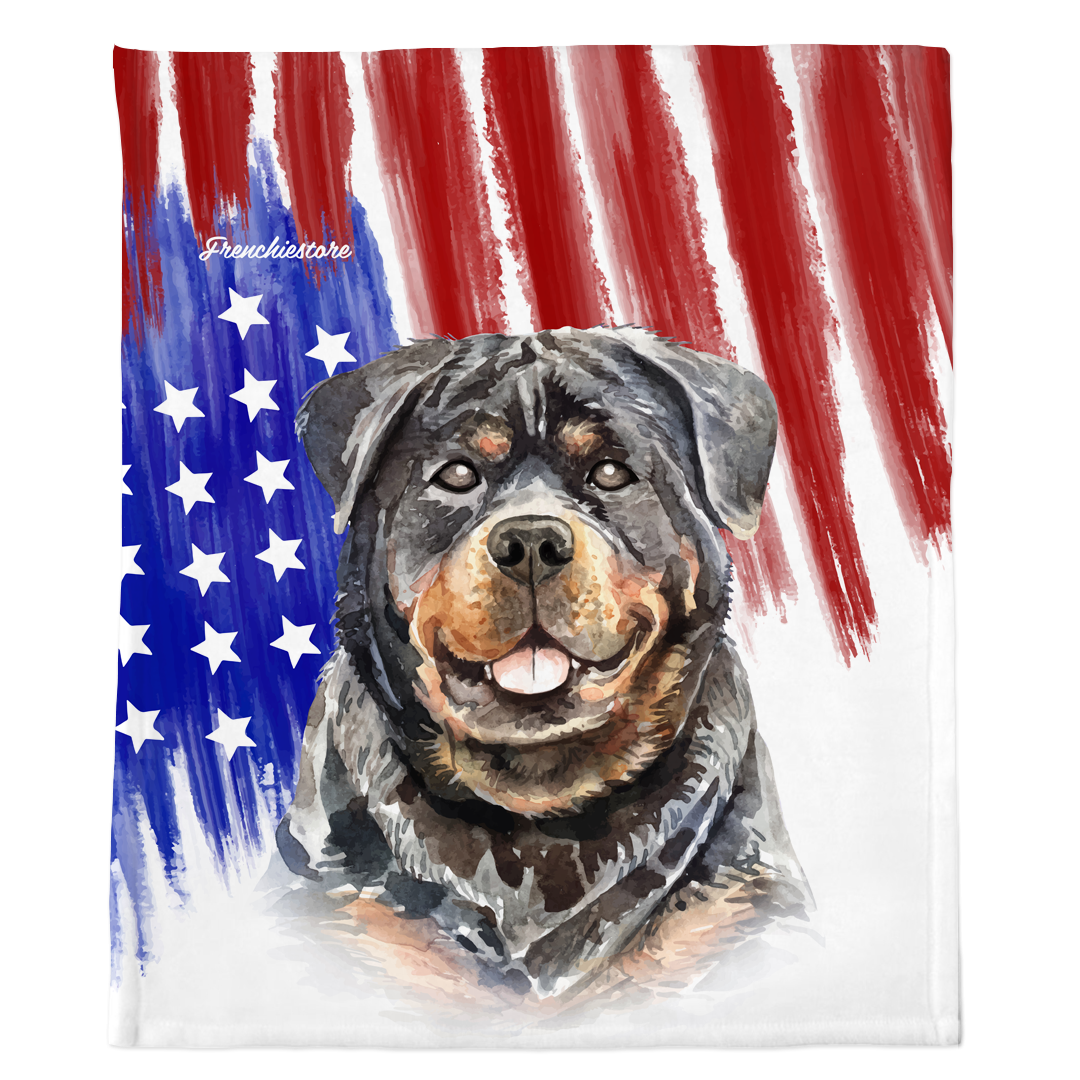 Patriotic Rottweiler Blanket | American dog in Watercolors
