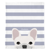 White French Bulldog on Silver Stripes | Frenchie Blanket