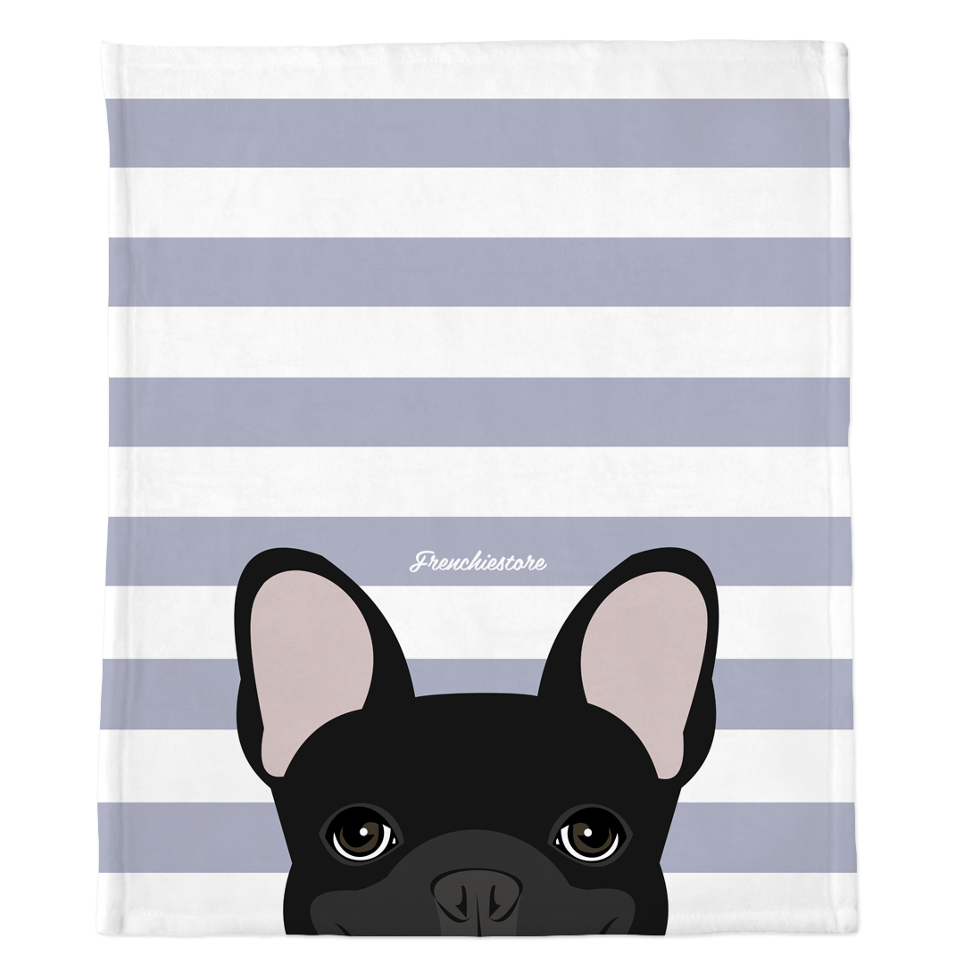 Black French Bulldog on Silver Stripes | Frenchie Blanket