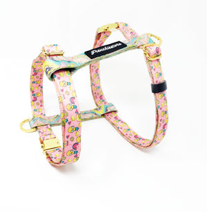 Frenchiestore Innovative Dual D-Ring Strap Harness - Pink Lemonade