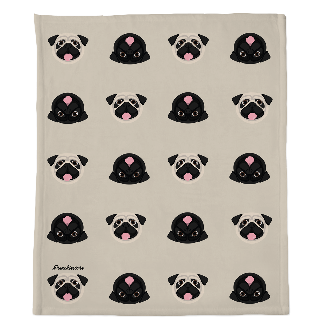 Pug Blanket | Different Pug dogs on Tan