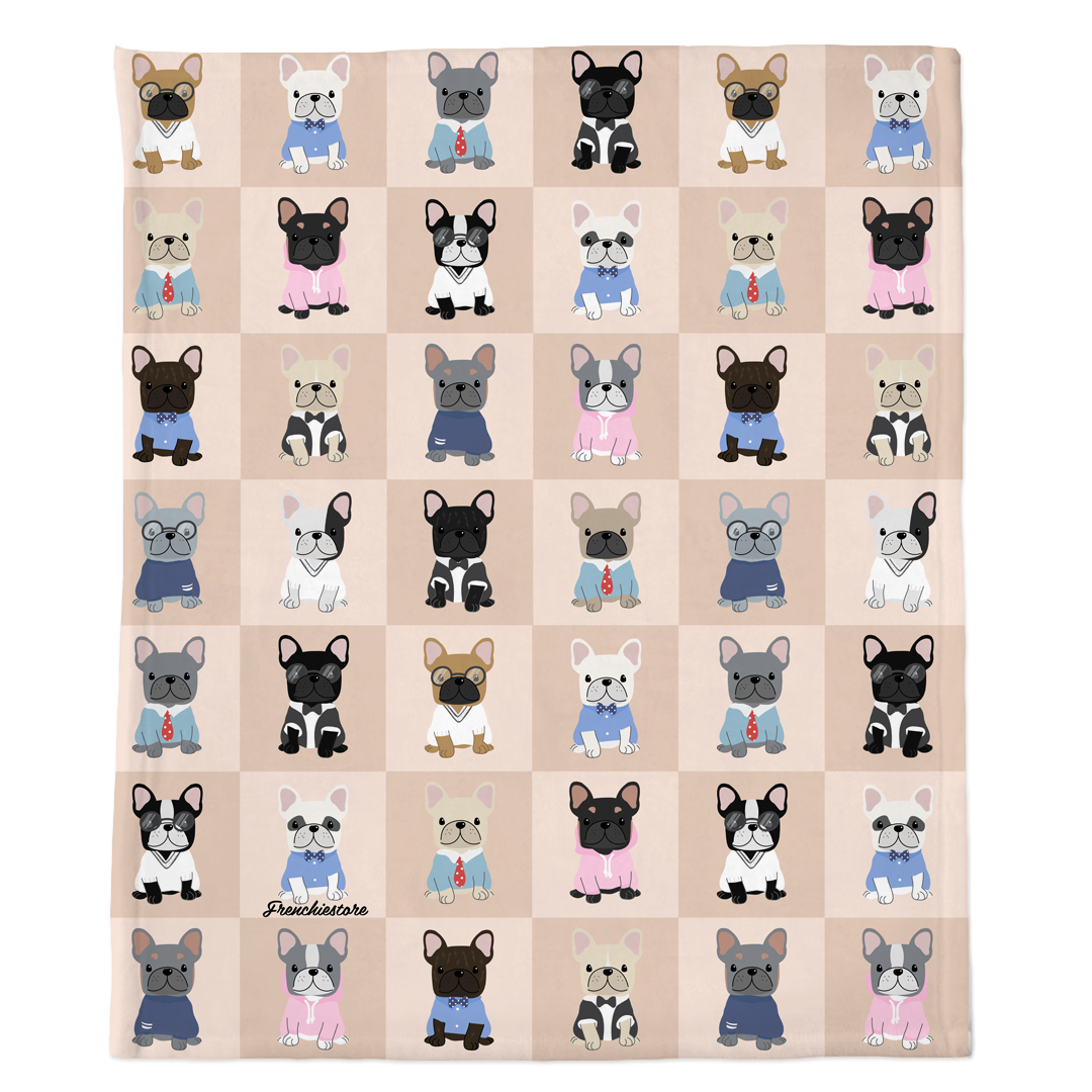 Frenchie Blanket | Preppy French Bulldogs on Tan